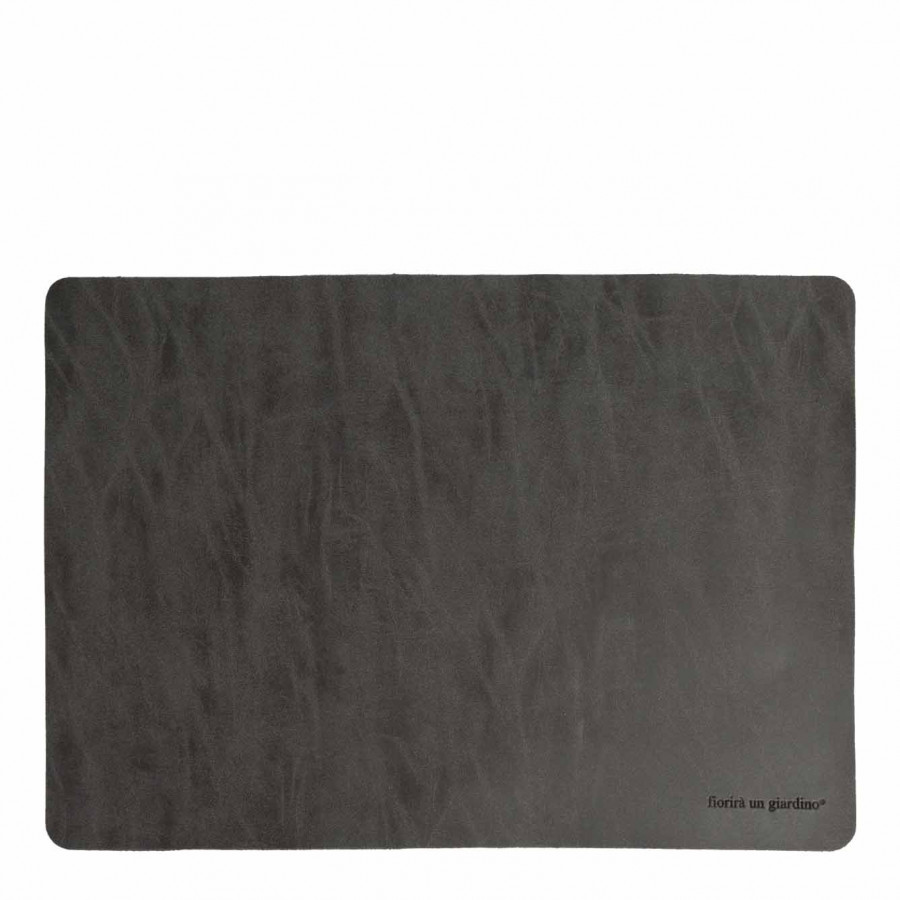 Anthracite fake leather tablemat 32 x 45 cm