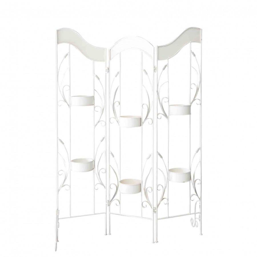 Separe' 3 pannelli con 6 portavasi in ferro bianco 105 cm