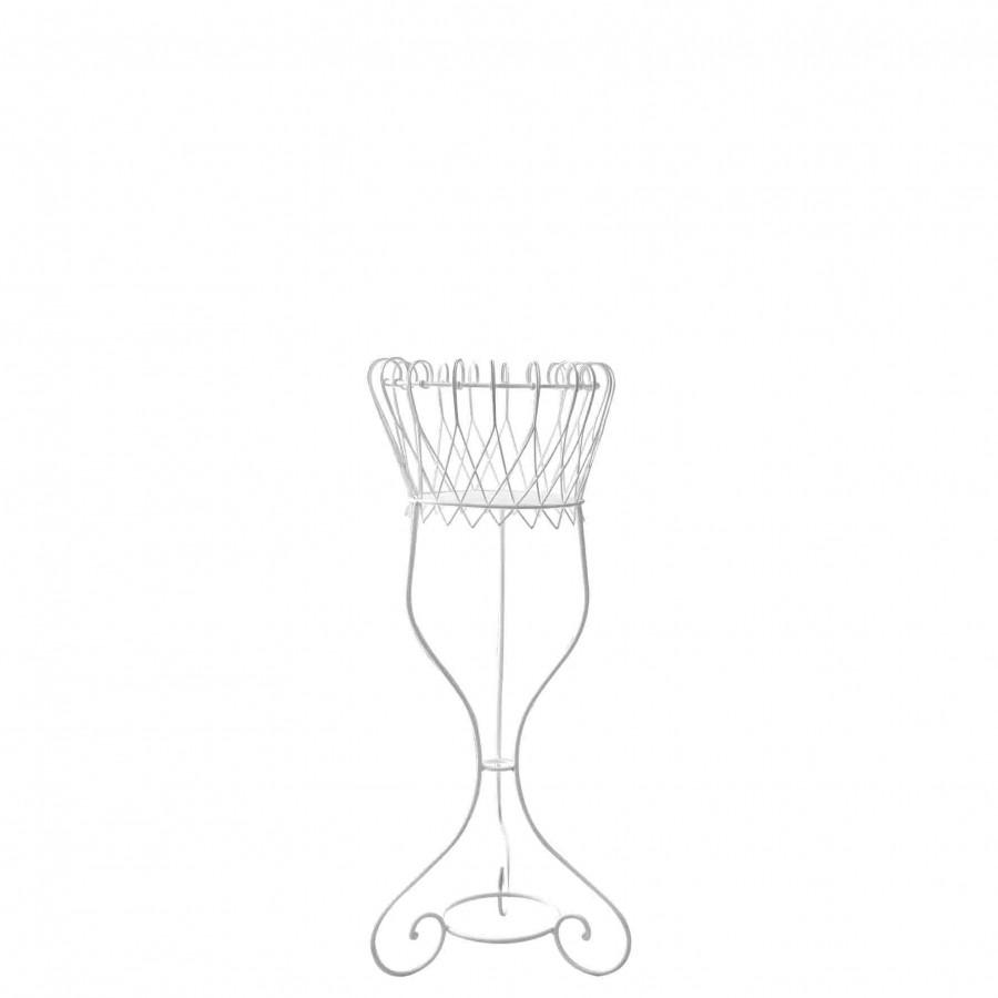 Fioriera ferro tonda bianca d42 h100 cm