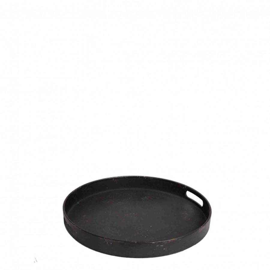 Vintage black plastic tray with 2 handles