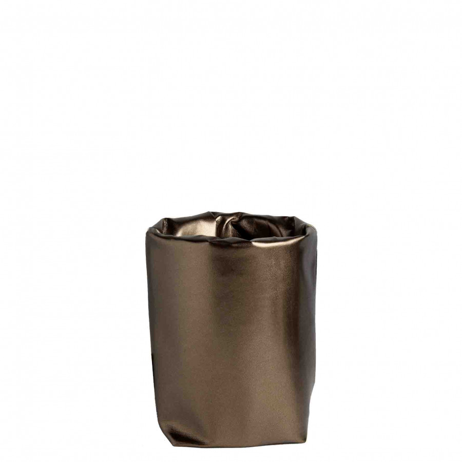 Cooling brass fake leather glacette 10x10xh17cm