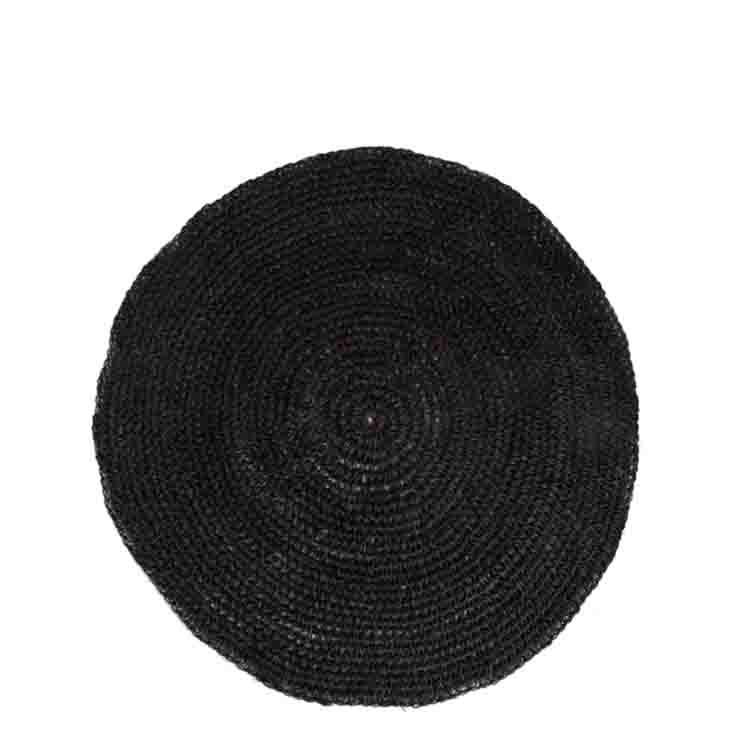 Sottopiatto trama uncinetto in abaca nero d35 cm