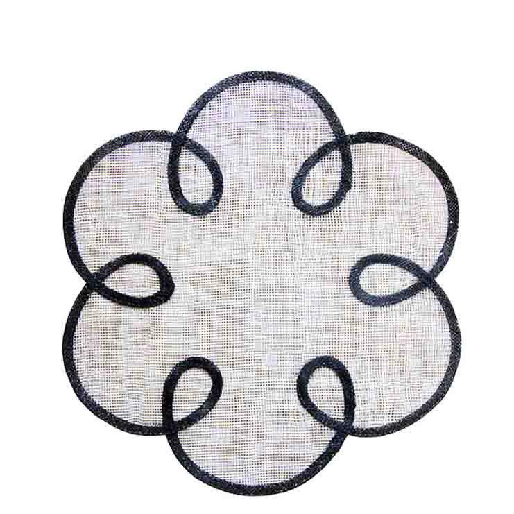 Sous-plat fleur an abaca blanc bord noir d38 cm