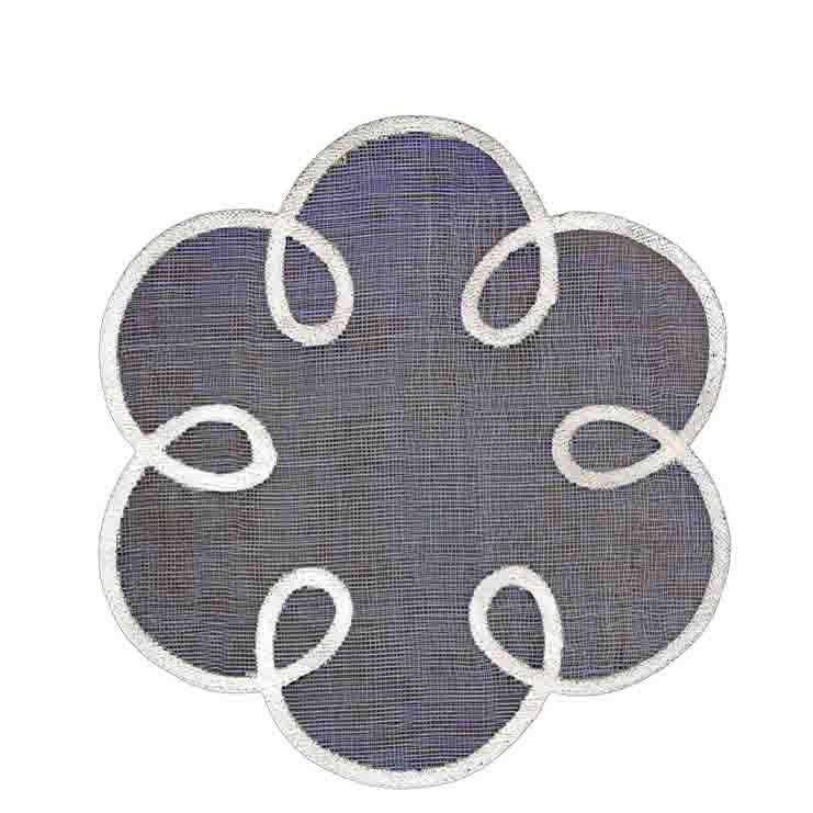 Sottopiatto fiore rete in abaca nero bordo bianco d38 cm