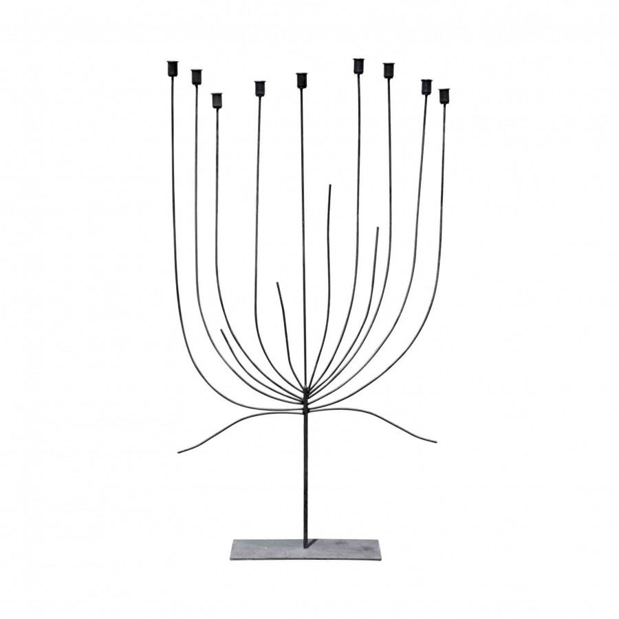 Black iron tree-shaped candle-holder (9 candles) h130 cm