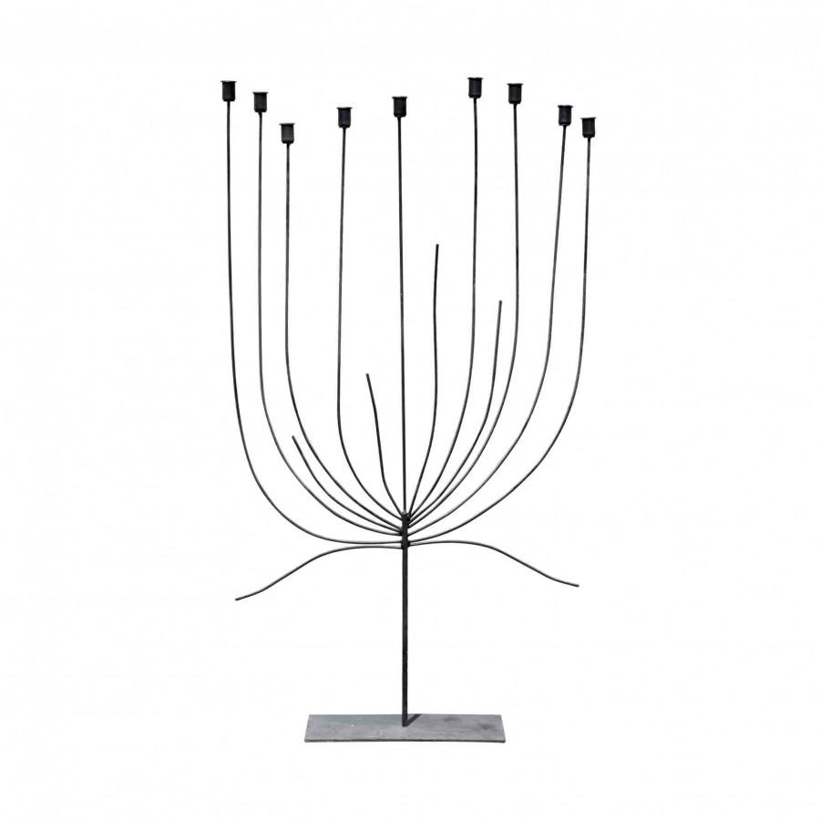 Albero piatto portacandele x 9 ferro nero h130 cm