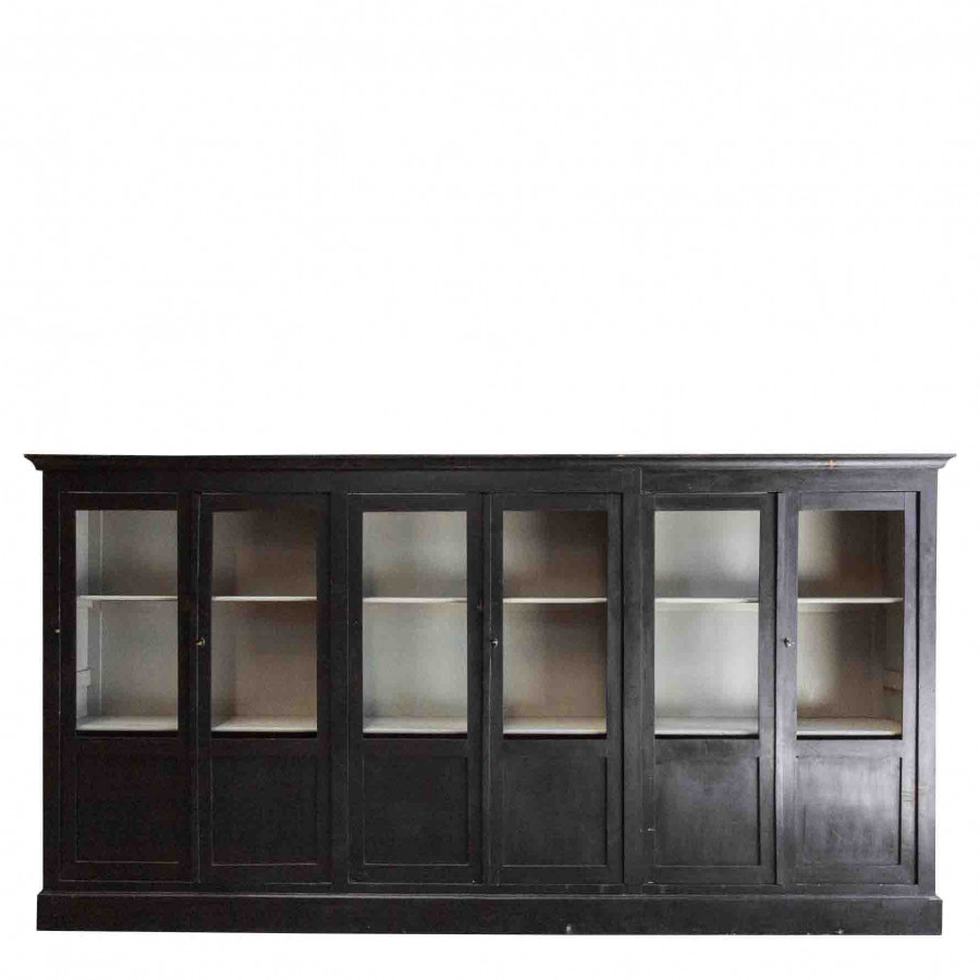 Vintage furniture with 6 doors black colour 42 x 360 h190 cm