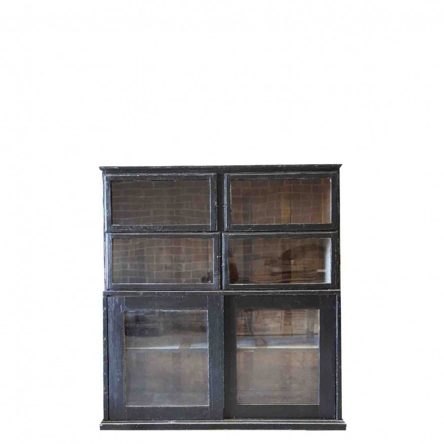 Black vintage furniture with 2 doors and 4 compartments 160 x 50 h180 cm