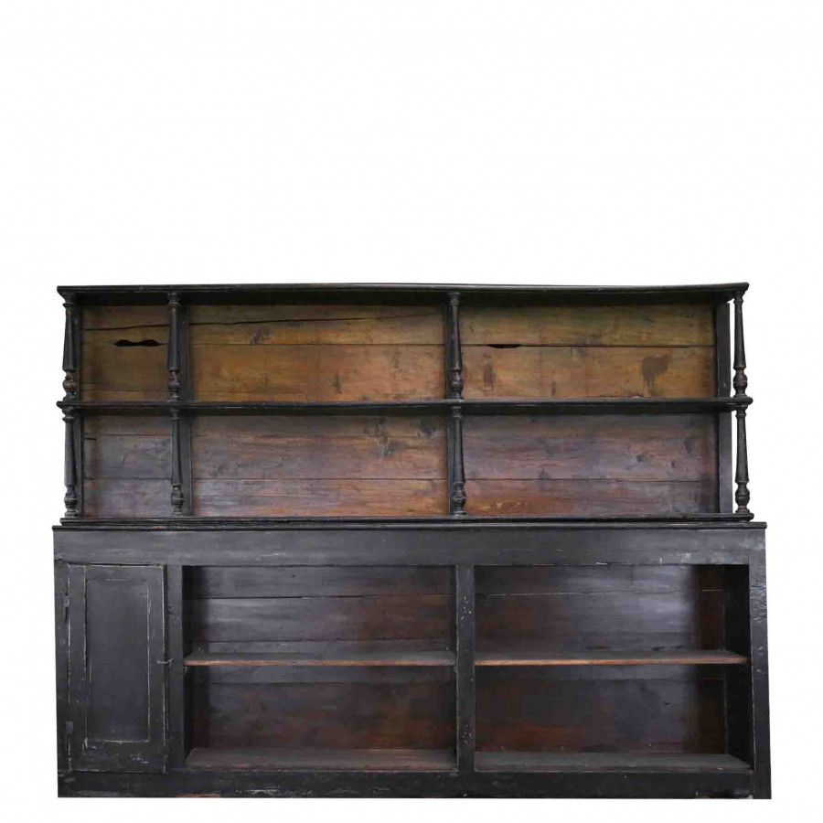 Black vintage furniture 1 door + 2 shelves with 4 compartments 240 x 30 h180 cm