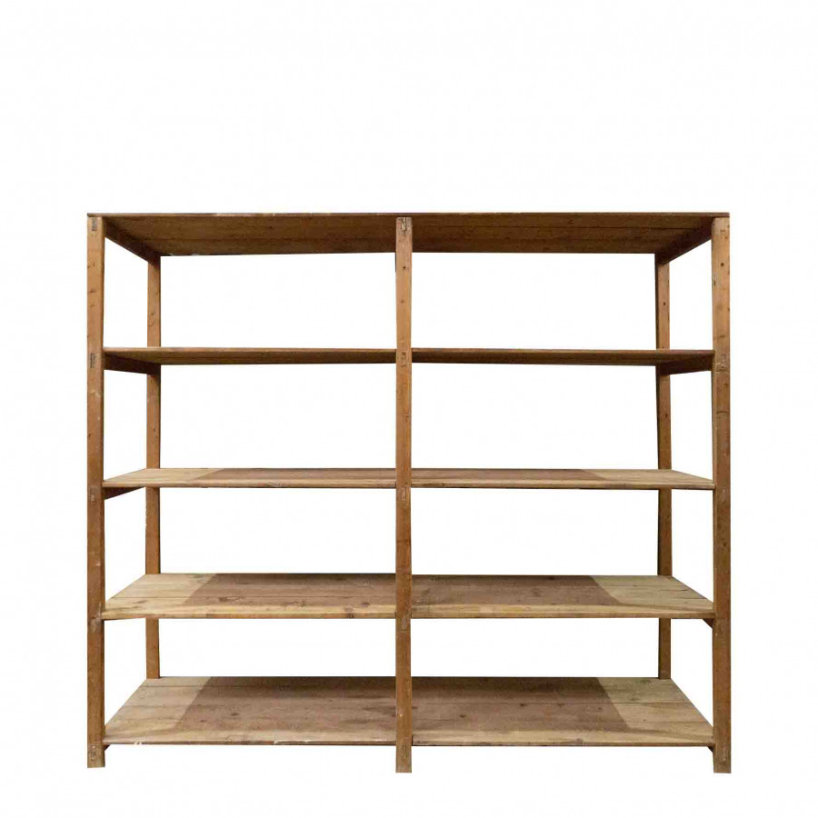 Wooden vintage self with 4 shelves 226 x 50 h200 cm