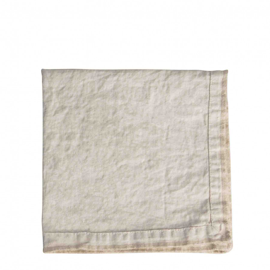 100% cream linen runner with embroidered edges