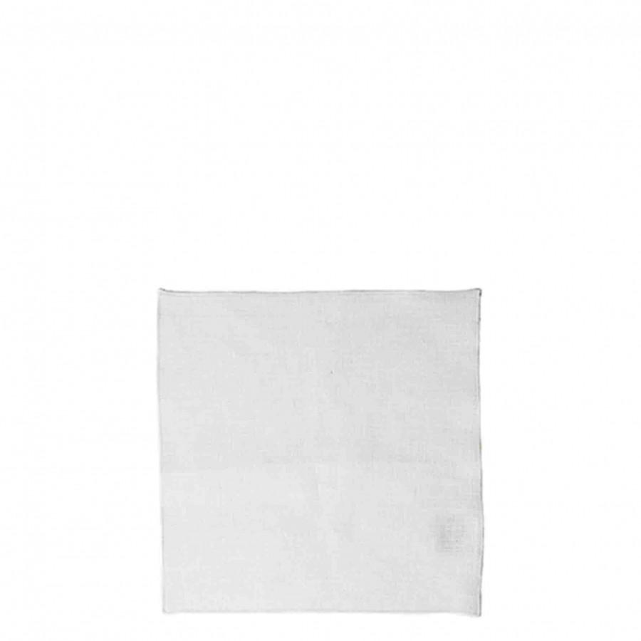 Smooth napkin white 100%linen white hem 24 x 24 cm
