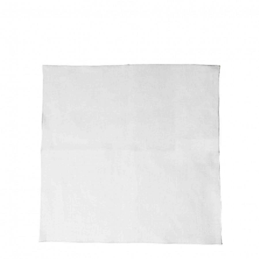 Serviette lisse 100%lin blanc bord. 40 x 40 cm