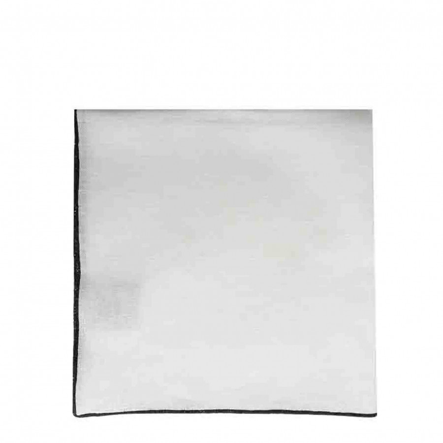 Serviette en 100% lin blanc avec bord noir 40x40 cm