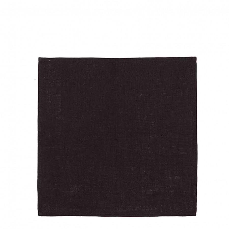 Serviette en 100%lin couleur noir 40 x 40 cm