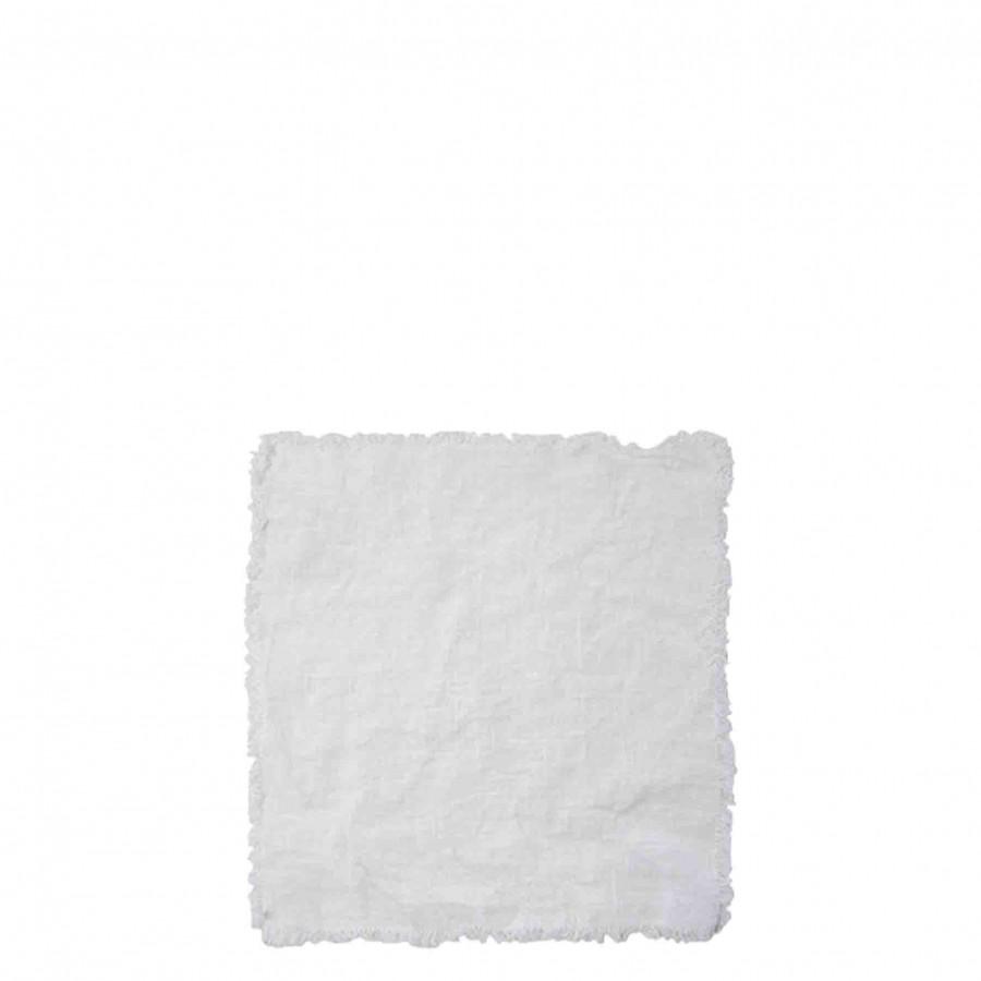 Serviette blanche 100% lin avec franges 26 x 26 cm