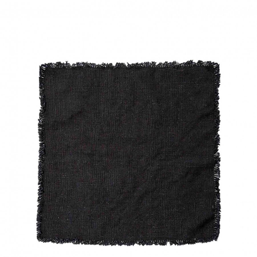 Serviette noire 100% lin avec franges 40 x 40 cm