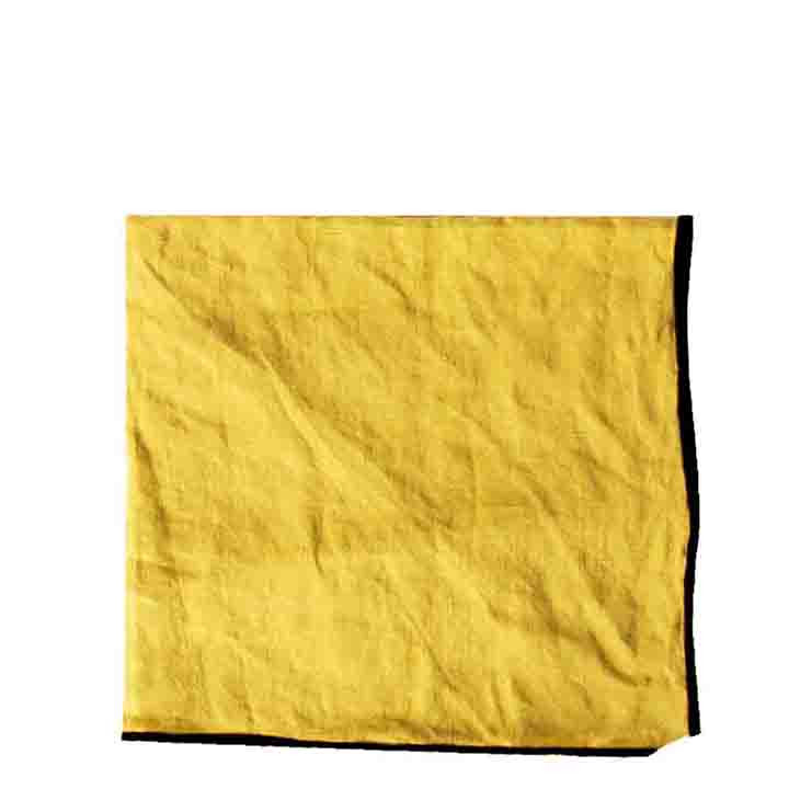 Serviette 100% lin couleur moutard avec bord noir 40 x 40 cm