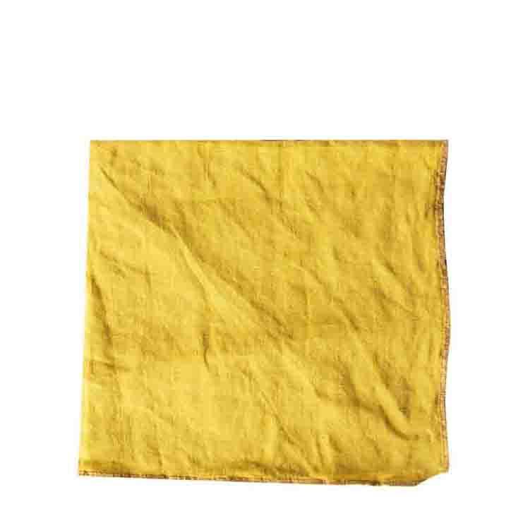 Serviette 100% lin couleur moutard avec bord moutard 40 x 40 cm