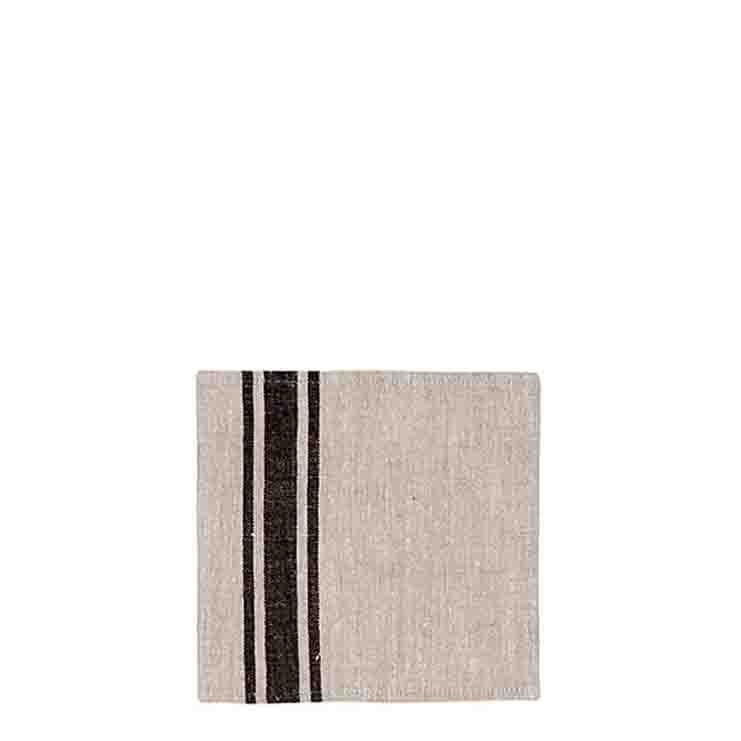 Serviette en 100%lin couleur naturel/noir 22 x 22 cm