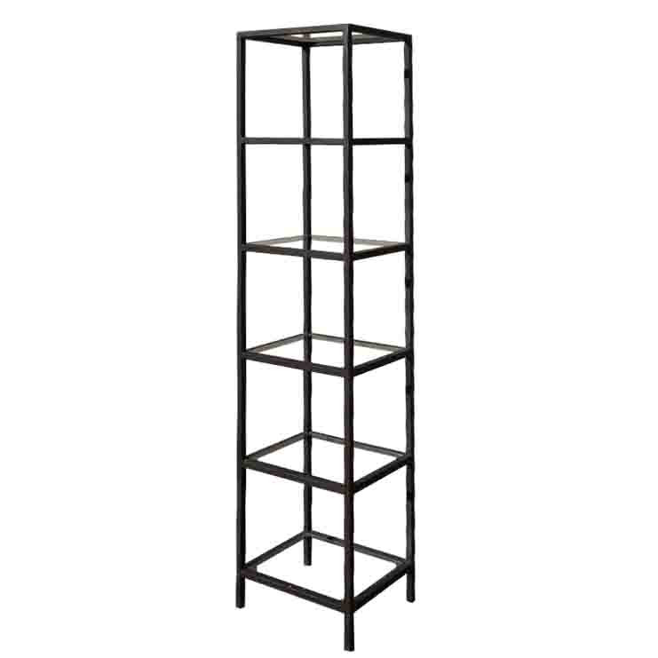 Etagere made of black iron and glass 32x40 h177 cm