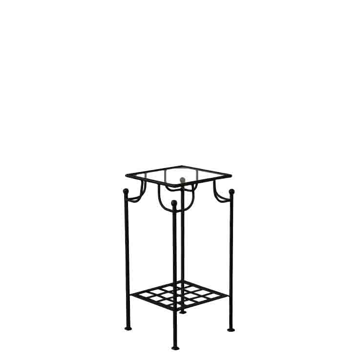 Black iron and glass table with 2 shelfs 30 x 80 h80 cm