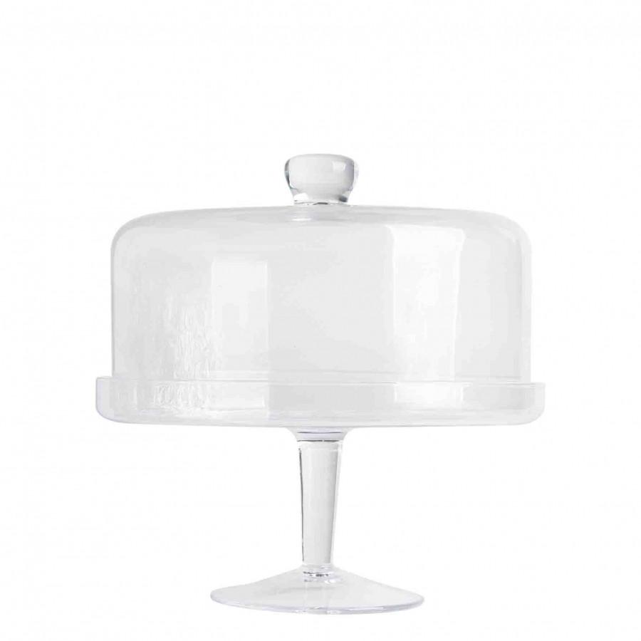 Alzata con bordo e campana vetro w d29 h28 cm