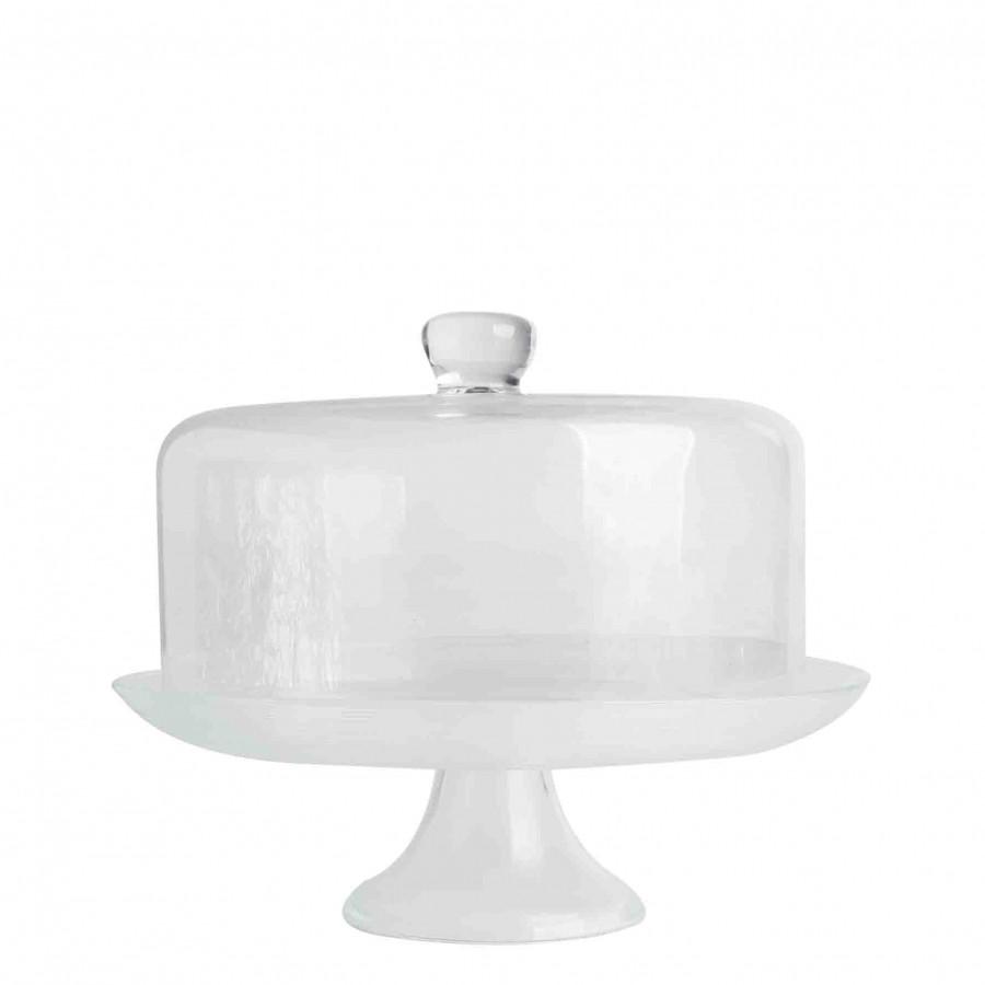 Alzata cerchi sottili concentrici con campana vetr d32 h26 cm