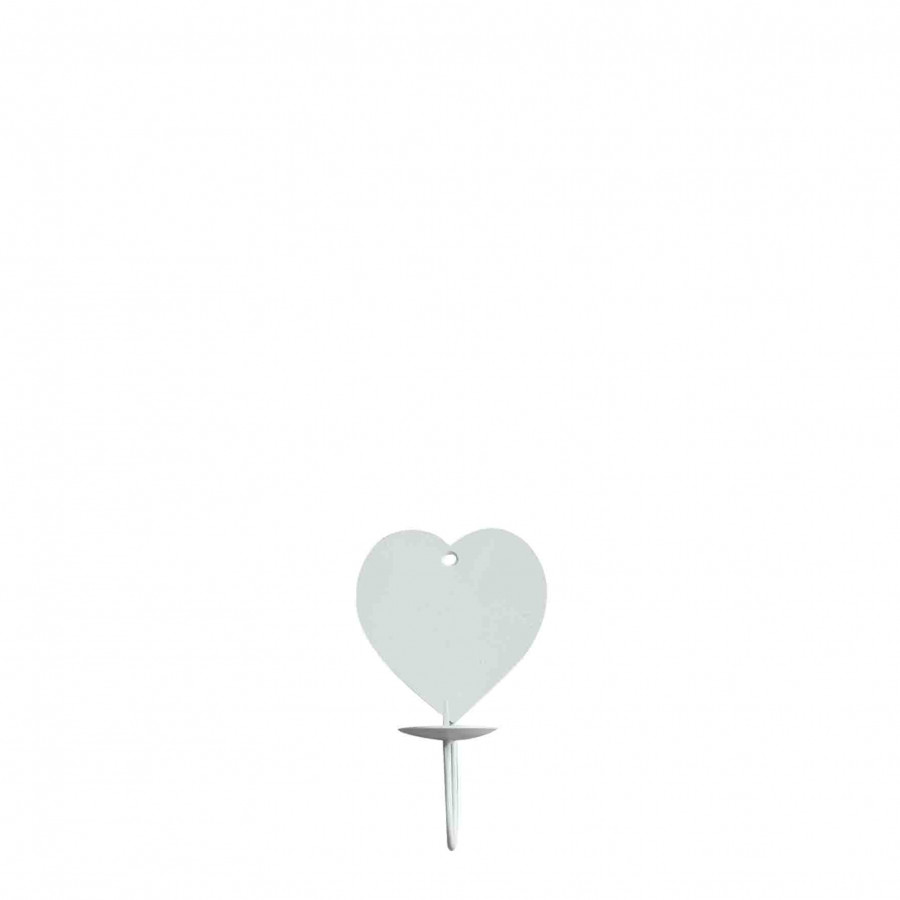 White iron wall candle-holder with heart 11cm