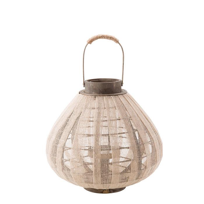 Lanterne ronde en filet couleur lin h25cm