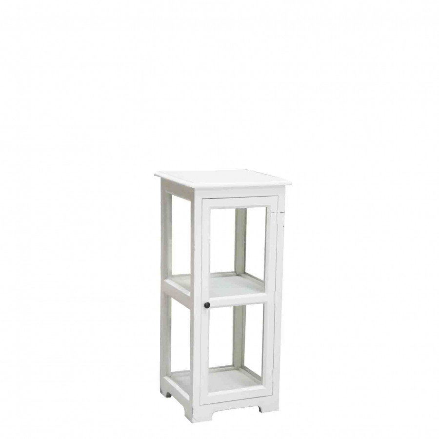 Petit meuble blanc en bois avec porte en verre 40x40 h90 cm