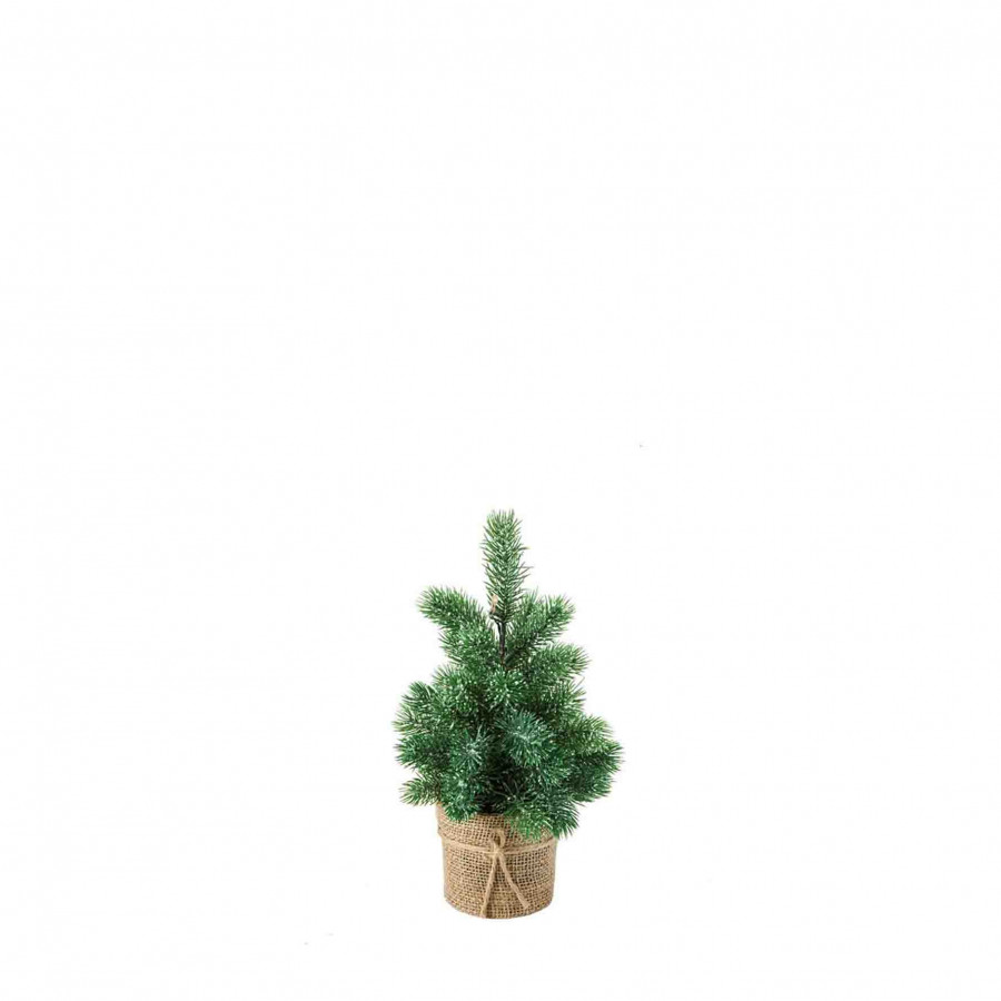 6 led light plastic green pine in vase with battery h32 cm