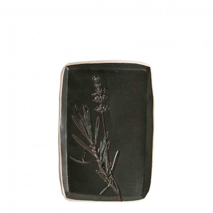 Tavoletta kitchen gift decoro gres nero bordo chia 9 x 17.5 cm