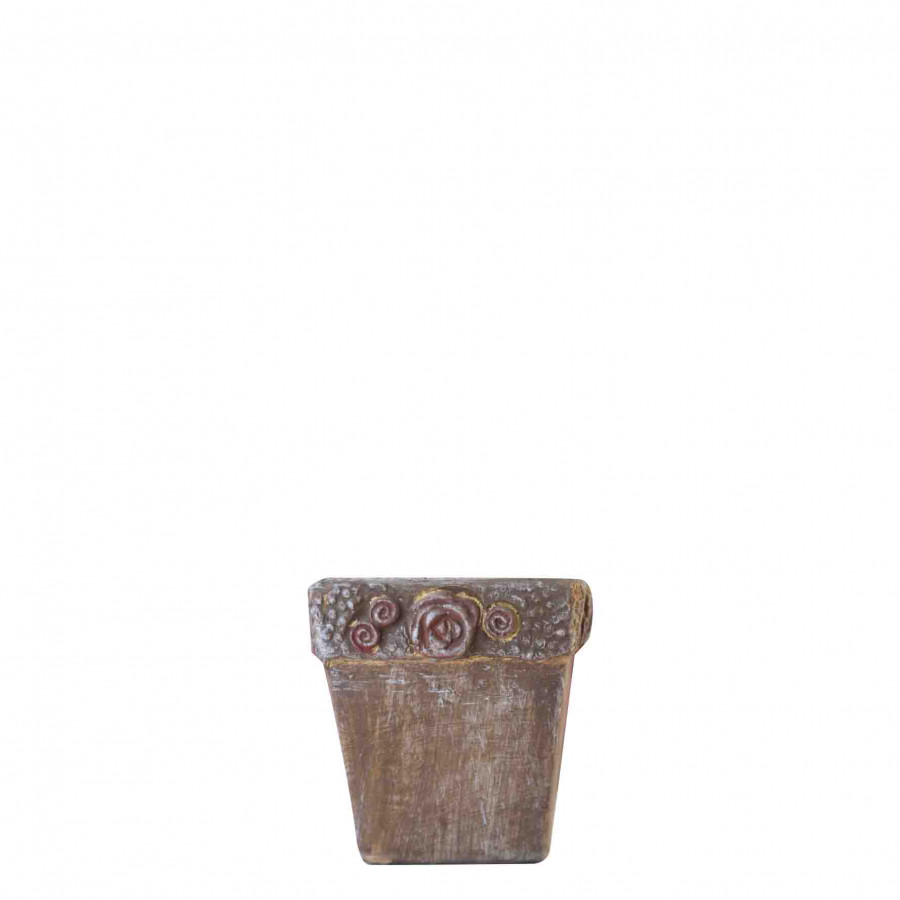 Vase marron en terrecuite avec fleurs