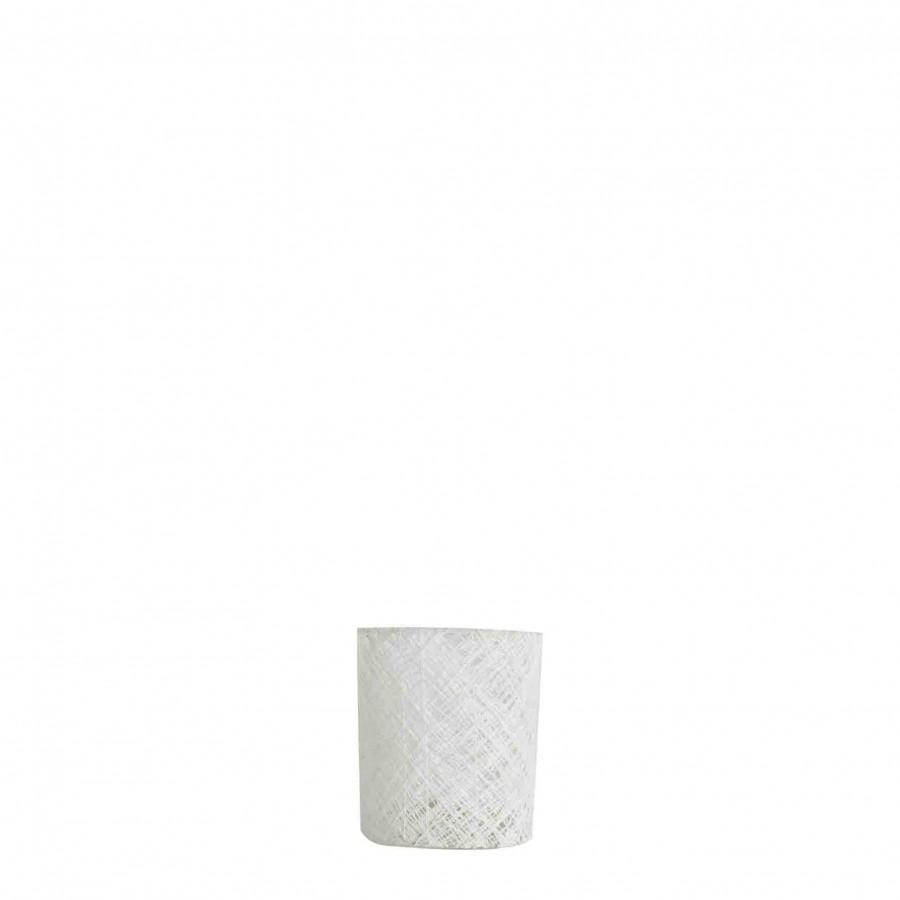 Verre porte-photophore fils tresses blancs d7 h8.5 cm