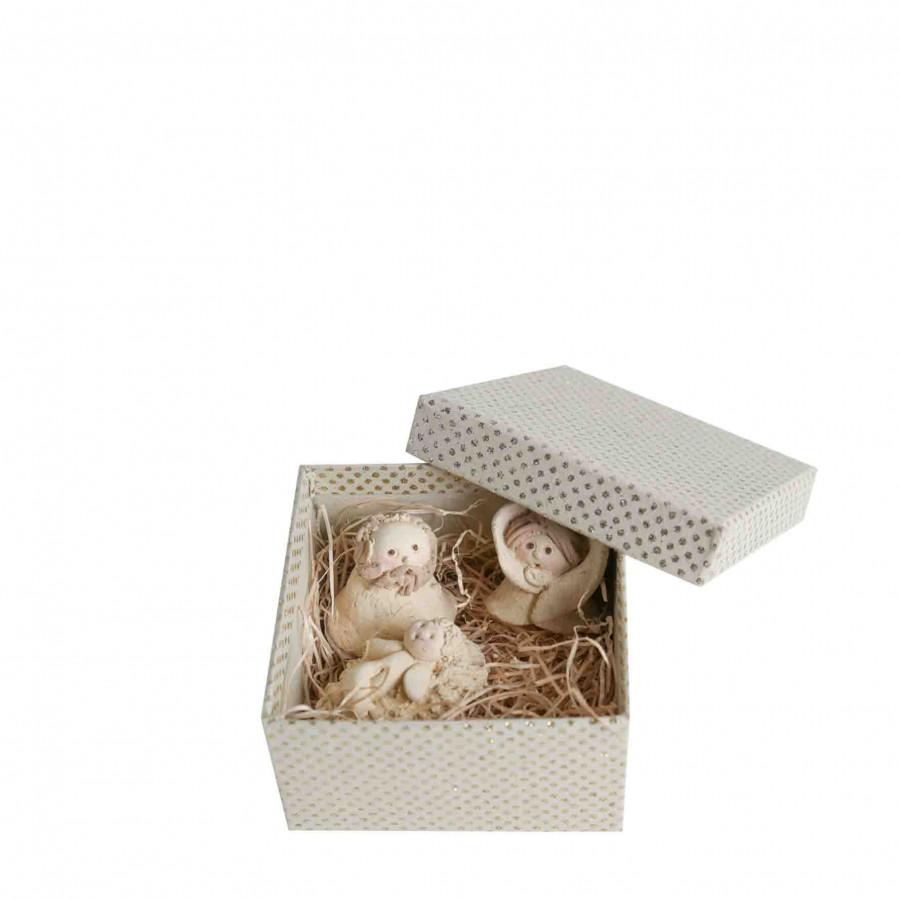 Presepe 3 statuine resina in scatola pois oro