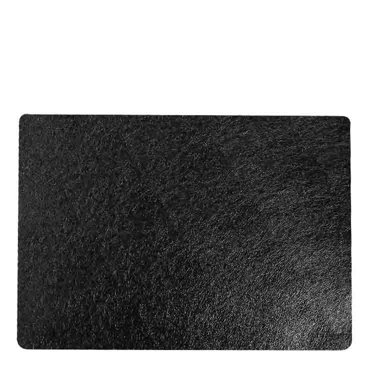 Dark black metal fake leather placemat 32 x 45 cm