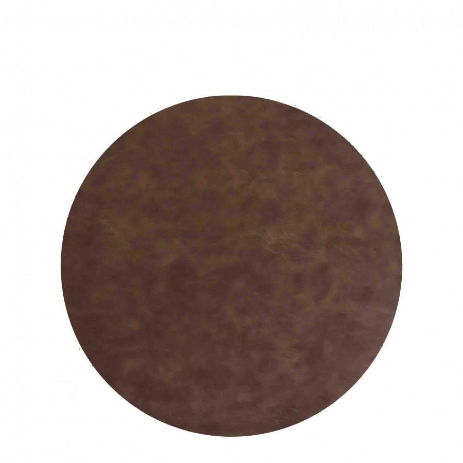 Sousplat en faux cuir marron vintage d33 cm