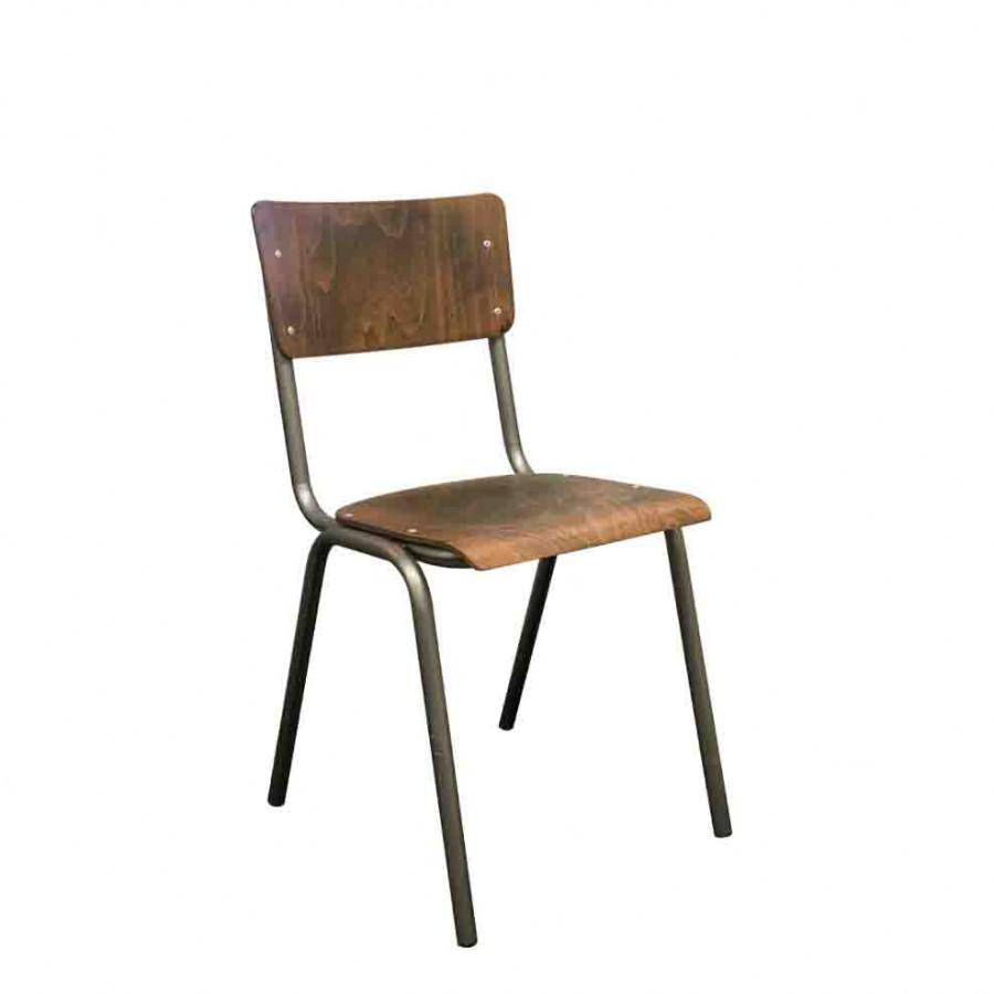 Sedia in faggio anticato struttura metallo 37 x 43 h81 cm