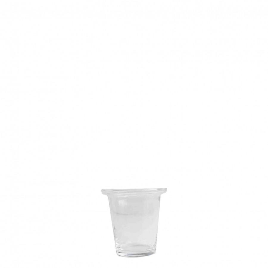 Portatealight vetro svasato con bordo sporgente d9 h9 cm
