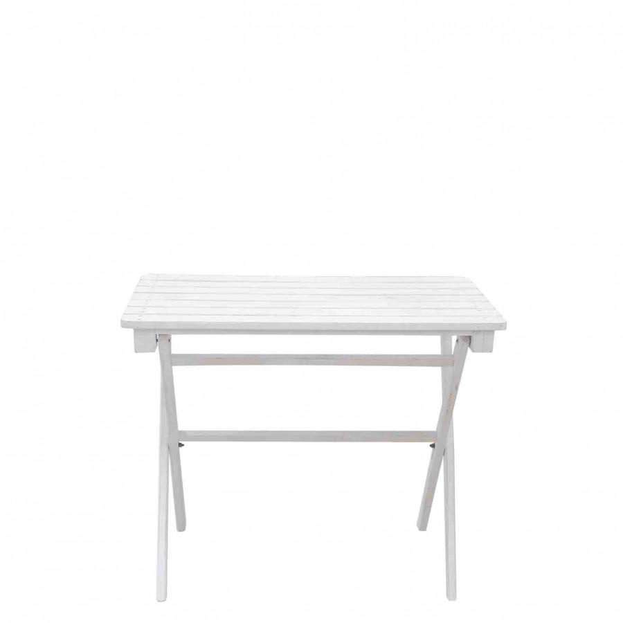 Tavolino legno bianco pieghevole con listelli 50 x 90 h77 cm