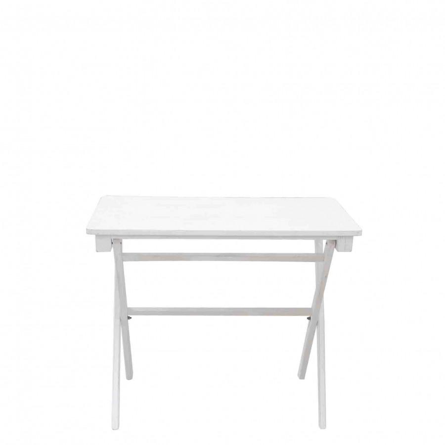 Tavolino legno bianco pieghevole pieno 50 x 90 h77 cm