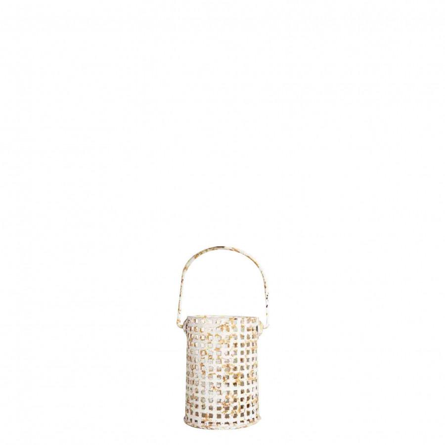 Lanterna cilindrica quadri ferro bianca ruggine d9.5 h13 cm