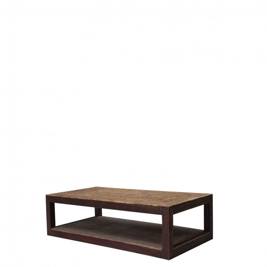 Petite table en oisier avec 2 etages 70x140 h40 cm