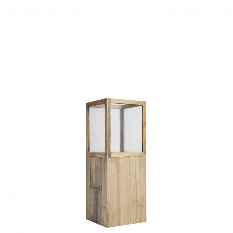 Lanterna legno vetro 13 x 13 h35 cm