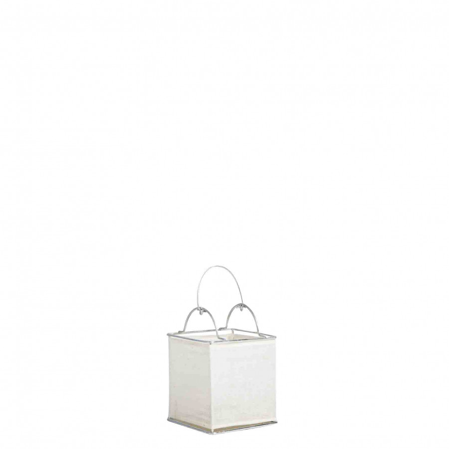 White canvas cubic-shaped lantern 10x10 h10.5 cm