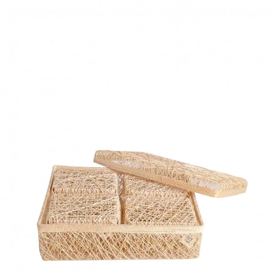Set 5 scatole rettangolari aggrovigliate bianche 25 x 33 h9 cm