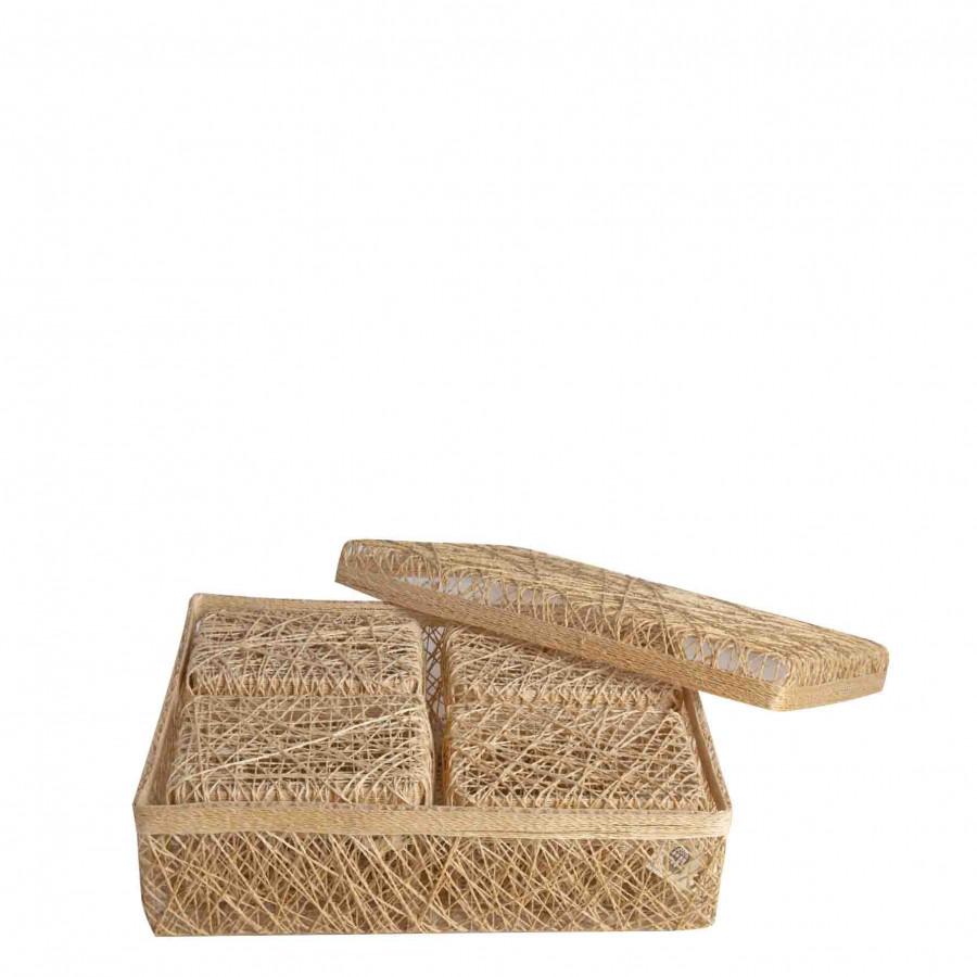 Set 5 scatole rettangolari aggrovigliate nocciola 25 x 32 h9 cm