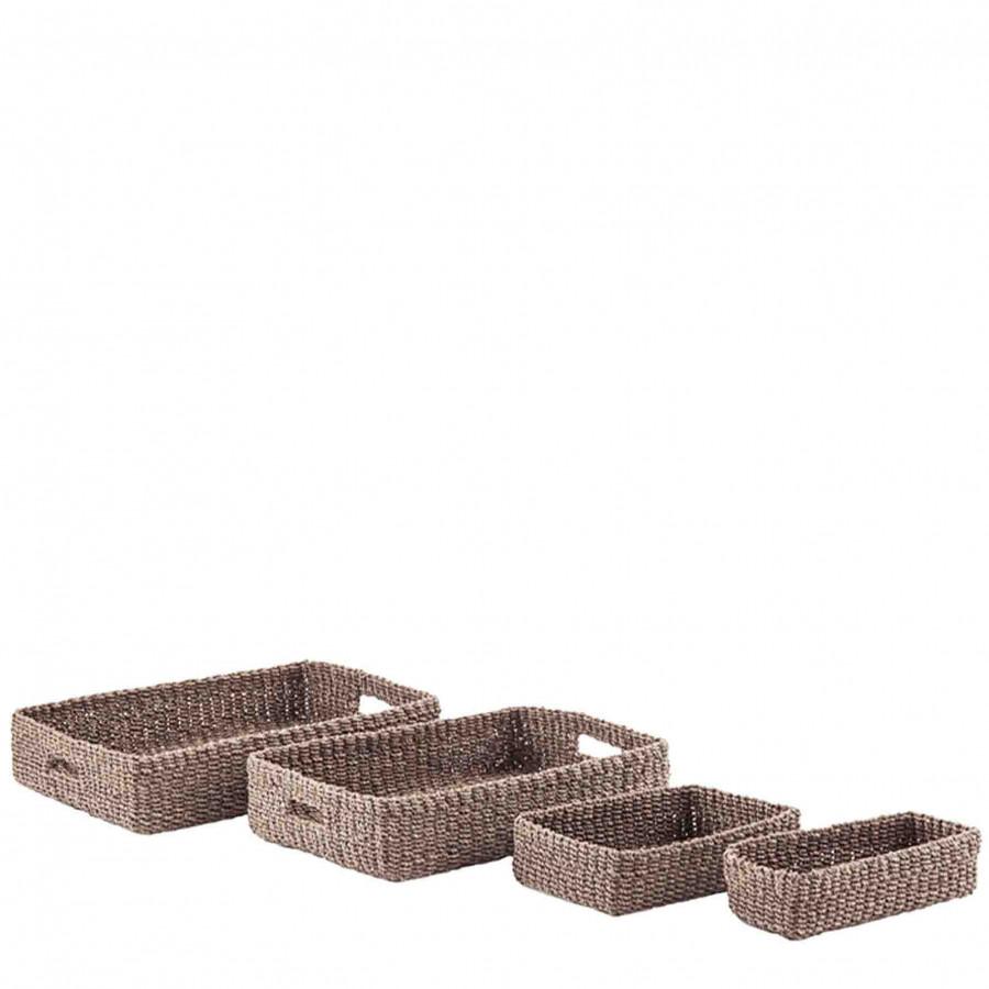 Set de 4 plateaux rectangulairs en abaca grise 29x40 h10 cm