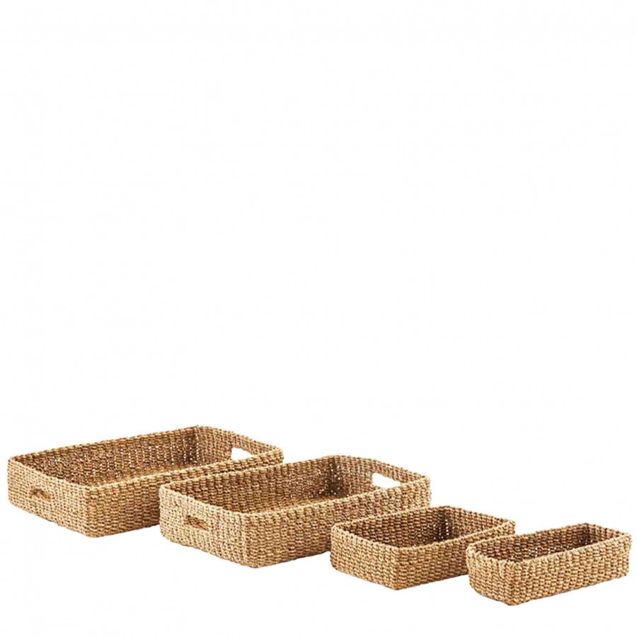 Set of 4 rectangular hazel abaca trays 29x40 h10 cm